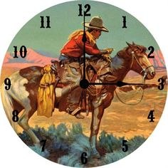 Old West Wall Clock by Vintage Artwork, Clocks, Decor for Boys