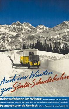 Auch im Winter zur Santis Shwebebahn by Artist Unknown | Vintage Posters at International Poster Gallery