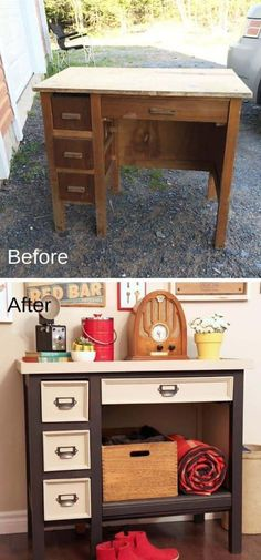 Old Furniture Makeovers Diy Projects Desk Makeover 32 Ideas For 2019 Cheap Furniture Makeover, Diy Furniture Renovation, Desk Makeover, Inexpensive Furniture, Diy Projects Desk, Furniture Projects, Furniture Design, Furniture Stores, Furniture Websites