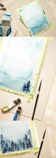 Learn how to create a winter watercolor landscape from this super easy to follow but detailed tutorial. Click to learn more - Inkstruck Studio #watercolorarts