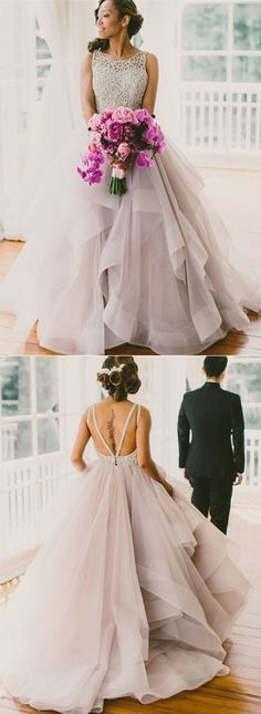Backless Ball Gown Prom Dresses/Wedding Dresses,open back wedding dresses,backless prom dresses,beaded prom dresses,backless bridal gown,Princess Long Scoop party dresses: