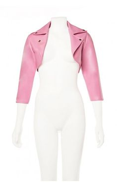 Deadly Dames - Moto Babe Bolero in Pink Faux Leather | Pinup Girl Clothing