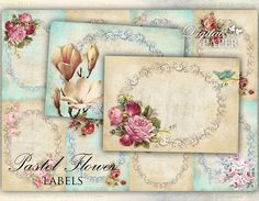 Pastel Flower  Labels  set of 10  digital by bydigitalpaper, $4.55