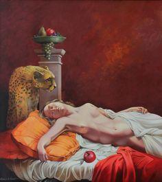 Il ghepardo e l'addormentata, olio su tela Sogno Arcano