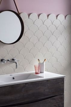 scallop tiles bathroom - Go for beautifully unique bathroom final view by installing scallop patterned tiles on the walls. White Bathroom Interior, Bathroom Red, Modern Bathroom, Small Bathroom, Tile On Bathroom Wall, Minimalist Bathroom, Wall Tile, Bathroom Faucets, Master Bathroom
