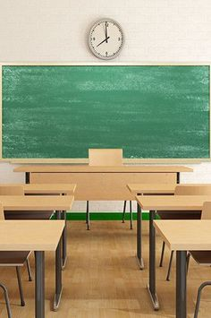 6741 Classroom Backdrop Desks And Green Chalkboard Background