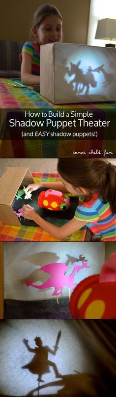 How to Build a Simple Shadow Puppet Theater (with simple foam stickers) #kids #play #Puppets
