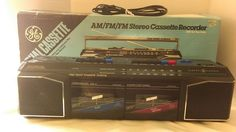 Vintage General Electric Boombox 3-5630 GE Black Dual Cassette Radio AM FM    Consumer Electronics, Portable Audio & Headphones, Portable Stereos, Boomboxes   eBay!