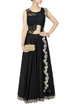 Black gota patti embroidered lehenga set available only at Pernia's Pop-Up Shop.