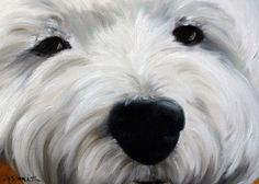 """Mary Sparrow Smith from Hanging the Moon – dog art, pets, portrait, paintings, gift ideas, home decor. Westie West Highland Terrier. """"Up Close and Personal II"""""""