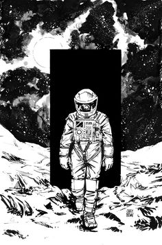 A Space Odyssey tribute by Garry Brown. Note the bones and HAL's reflection in the helmet visor. Art And Illustration, Mayor Tom, Astronaut Tattoo, Graffiti, 2001 A Space Odyssey, Buch Design, Astronauts In Space, Sci Fi Art, Astronomy
