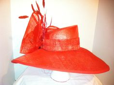 Red Sinamay Hat with asymmetrical Crown and 6 by OvertheTopHats, $75.00