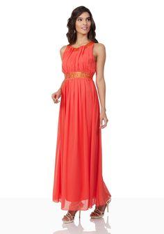 77f6acef334 Chiffon-Abendkleid in Melone mit Strassbändern