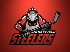 Sheffield Steelers Concept designed by Tortoiseshell Black. Connect with them on Dribbble; Nhl Logos, Hockey Logos, Sports Team Logos, Sports Memes, Sports Art, Mascot Design, Logo Design, Sheffield Steelers, Sports Graphics