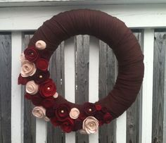 Chocolate Brown Felting Wool Felt Flower Wreath by jamesongower, $65.00