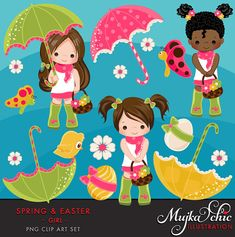 Easter & Spring Clipart for girls. April showers are starting soon. Spring & Easter is around the corner. This lovely Easter & Spring Clipart includes; 5