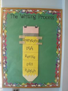 fifth grade bulletin board for keeping students on track with the writing process. 5th Grade Classroom, Future Classroom, School Classroom, Classroom Setup, Primary Classroom Displays, English Classroom Decor, Classroom Door, 5th Grade Writing, Fifth Grade