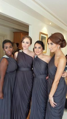 Beautiful bridesmaid style - such elegant slate grey dresses