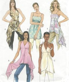 Womens Summer Tunics Handkerchief Hem Halter Style by CloesCloset