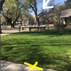 Healthy/Morbidly Obese: = Myth to make yourself feel better! I needed to get from the yellow X to the entrance of the library just on the other side of the white arrow. I had to stop at the white benches (circled in red)and sit for five minutes before I could move on!