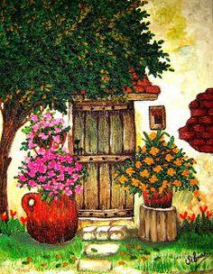 Esta técnica es de origen Guatemalteco, aunque yo la aprendí en El Salvador....  La mezcla de pintura y bordado, le dan a esto... Small Canvas Paintings, Diy Canvas Art, Animal Paintings, Landscape Art, Landscape Paintings, Cottage Art, Embroidery Flowers Pattern, Southwest Art, Mexican Art