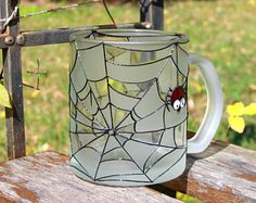 Halloween mug, Funny scary spider mug, Halloween present, Spider and web, Personalized custom mug