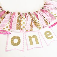 Pink and Gold First Birthday High Chair Banner by SweetOrangeFox