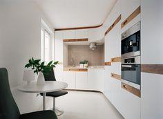 couleur pour cuisine - des armoires blanches aux accents aspect bois