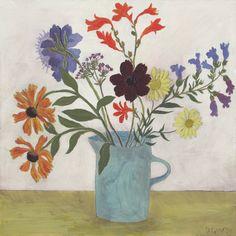 Debbie George.  Blue jug and garden flowers. www.debbiegeorge.co.uk