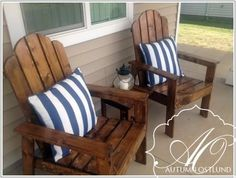 Adirondack chairs | Do It Yourself Home Projects from Ana-White.com  I love the bright yellow one I built, but the stain on these is gorgeous!