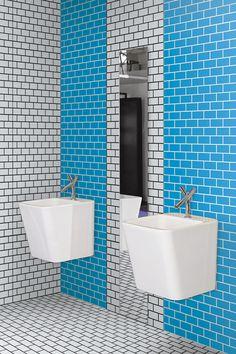 carrelage bleu turquoise ARTWORK brick, Ornamenta au show room david B à Paris