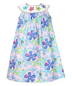 Look what I found on #zulily! Pink & Purple Floral Smocked Yoke Dress - Infant, Toddler & Girls #zulilyfinds