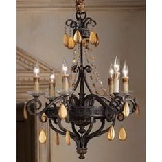 Dorato Six Wrought Iron and Gold Leaf Crystal Chandelier