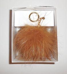 MICHAEL KORS Large Fur Pom Pom Bag Charm Key Ring Natural New Keyring   MichaelKors Pom 6cd3b1755