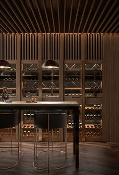 Yarra one south yarra Home Wine Cellars, Wine Cellar Design, Joinery Details, Wine Display, Wine Wall, Japanese Interior, Wine Cabinets, Wine Fridge, Bar Lounge