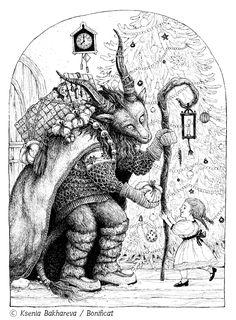 Drawing by Bonificat / Ksenia Bakhareva Based on a creature/costume by Nymla Pagan Christmas, Yule Goat, Medieval, Images Google, Winter Solstice, Game Art, Mythology, Creepy, Illustration Art