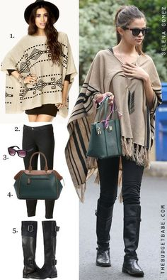 Dress by Number: Selena Gomez's Tan Poncho and Tall Black Boots