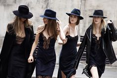 All Black Everything Perfection: Lacy Black Slips + Black Coat / Black Moto Jacket + Black Hats