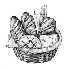 Food Drawing, Cat Drawing, Drawing Sketches, Drawings, Food Illustrations, Illustration Art, Cupcake Illustration, Basket Drawing, Bread Art