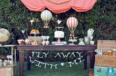 "This ""fly away with me"" themed dessert table will make you want to stay. #birthday #boys #hotairballoon"