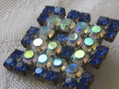 Etsy の Square Blue & Iridescent Rhinestone Czech BUTTON by abandc