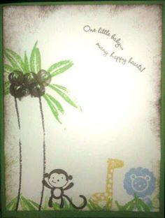 Baby shower invites  DIY Jungle animals theme Stamp up
