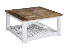 """Tøft og rustikt Avignon sofabord i en stilig fargekombinasjon! Bordet kombinerer moderne """"slitt hvitt"""" med tradisjonell mønstret naturtopp i resirkulert alm.  #novasolo #møbler #furniture #coffeetable #sofabord #alm #elm #white #hvit #recycled #resirkulert #homedekor #interior #design"""