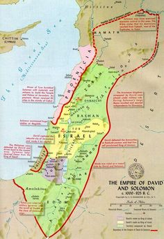 Map of Israel during the reigns of Saul, David, and Solomon. David expanded Saul's kingdom (green areas) and Solomon stretched its influence even further (red boundaries) Jewish History, World History, Ancient History, Ancient Map, Bible Mapping, Religion, Mystery Of History, Bible Knowledge, Old Maps