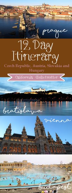 12 Day Itinerary Central & Eastern Europe - 4 Capitals - Prague, Vienna, Bratislava & Budapest + Cesky Krumlov and/or Ceske Budejovice - California Globetrotter Europe Destinations, Europe Travel Tips, European Travel, Travel Guides, Travel List, Europe Centrale, Montenegro Travel, Road Trip Europe, Europe Train