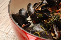 Steamed mussels with bacon, rosemary, and white wine by Alejandra of Always Order Dessert, via Flickr