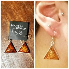 Lovely amber triangle earrings from Poland, $58.