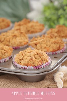 a soft apple muffin base topped with a crunchy oat crumble! These make the perfect lunch box treat (printable Conventional and Thermomix recipe cards included). Apple Crumble Muffins, Easy Apple Crumble, Apple Crumble Recipe, Lamb Recipes, Apple Recipes, Sweet Recipes, Baking Recipes, Dessert Recipes, Jelly Recipes