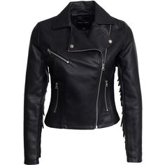 New Look Pu Tassle Biker Jacket (500 NOK) ❤ liked on Polyvore featuring outerwear, jackets, leather jacket, tops, coats, black, womens-fashion, tall jackets, lined jacket and motorcycle jacket