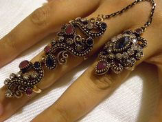 Vintage Sapphire Ruby double finger ring,Knuckle Band,Antique Gold jewelry,Ethnic wedding rings,Handmade Tribal rings,Boho Bohemian Rings
